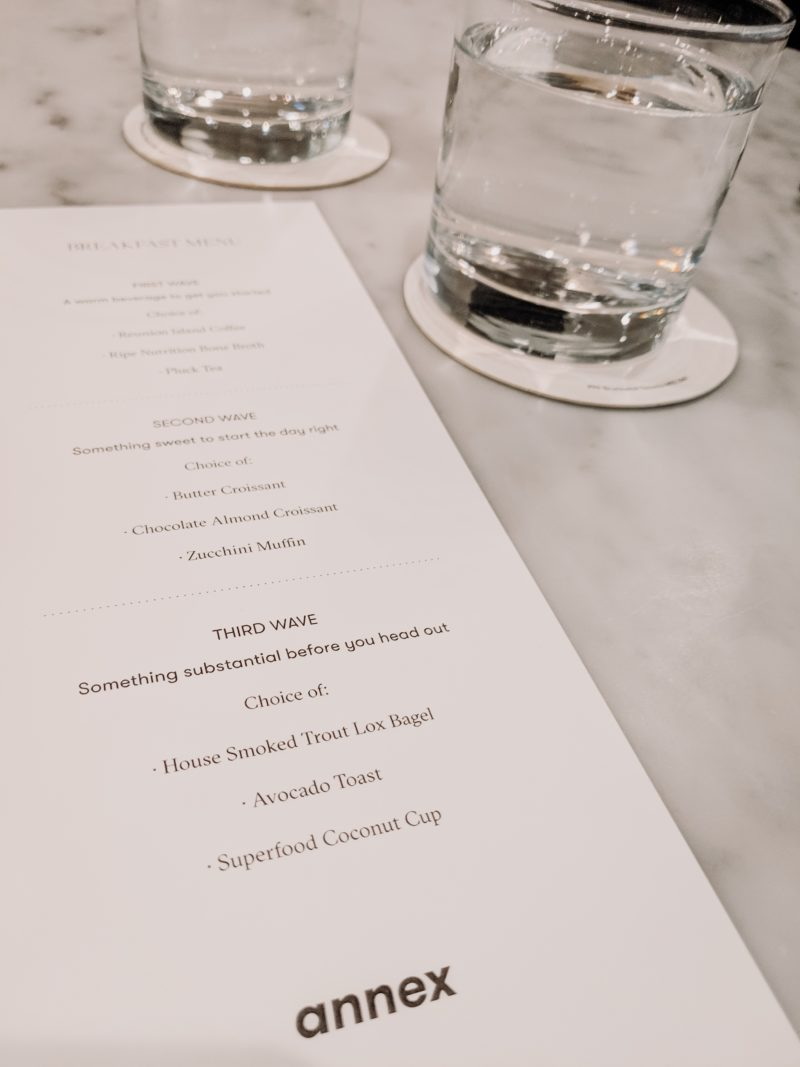 The Annex Hotel menu